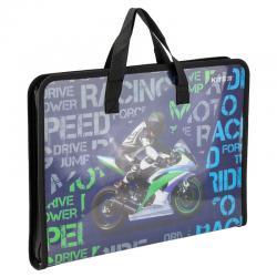 Портфель пластиковый на молнии Kite A4 Racing K19-202-02