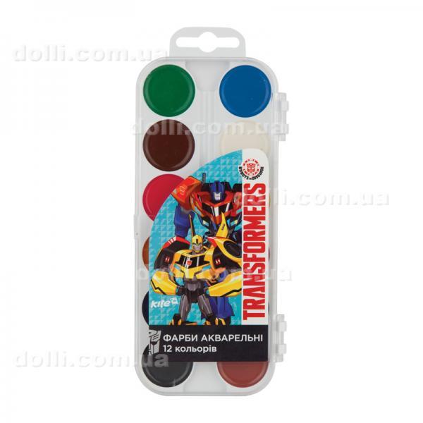 Краски акварельные 12 цветов Kite Transformers TF17-061