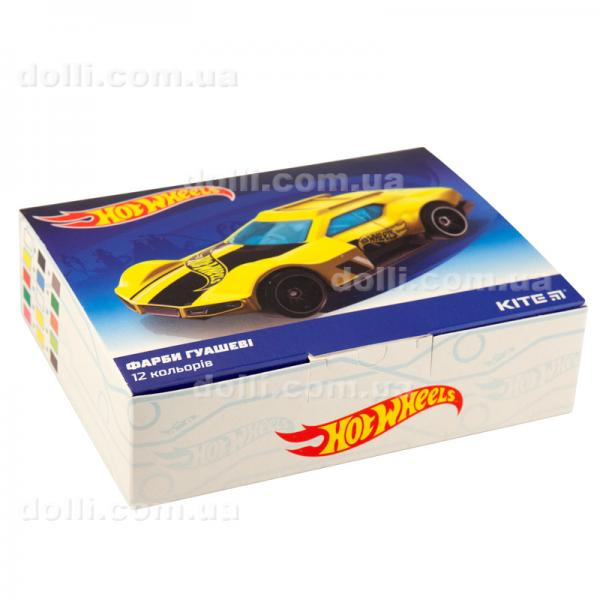 Гуашь 12 цветов 20мл Kite Hot Wheels HW19-063
