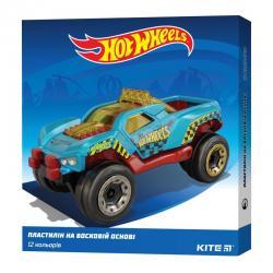 Пластилин восковой 12 цветов Kite Hot Wheels HW19-1086